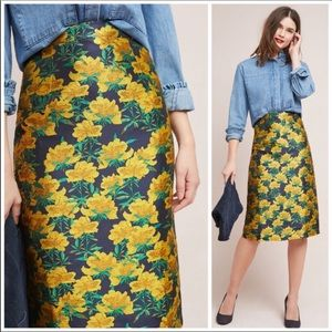 Isla Maude for Anthropologie Yellow Floral Skirt
